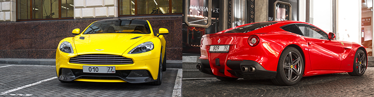 Colourful V12 supercars spotted in Moscow