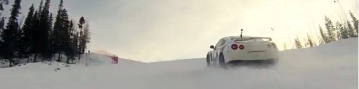 Team Ice Ricers take a Nissan GT-R onto the ski slopes