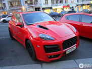 Red Porsche Cayenne Techart Magnum 2011 stands out in Kiev