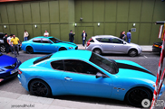 Combo spotted: turquoise Maserati GranTurismo and Quattroporte Sport GT S 2009