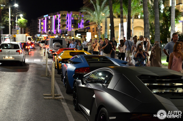 Three times the Lamborghini Aventador LP700-4 in Cannes