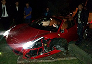 Ferrari 458 Spider crashes in Jūrmala