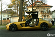 Beautiful pictures of a famous golden SLS AMG