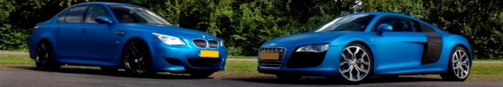Duo shoot: BMW M5 E60 and Audi R8 V10 in the same color